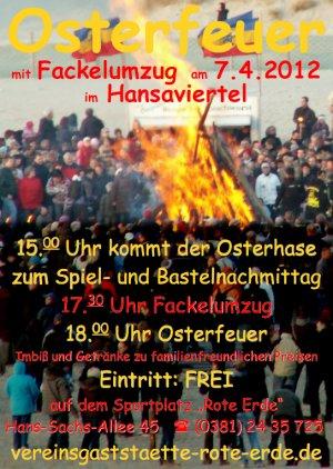 Osterfeuer 2012 Rostock - Hansaviertel - Ankündigungsplakat